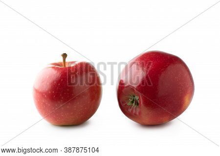 Two Fresh Red Gala Apples Isolated On White Background. Clipping Path