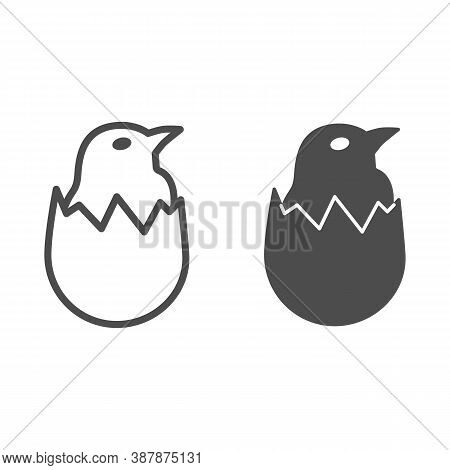 Chicken In Shell Line And Solid Icon, Farm Birds Concept, Little Chick In Cracked Egg Sign On White