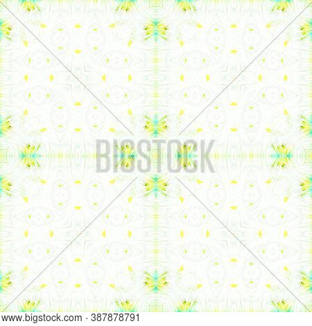Seamless Aquarelle Pattern. Aquarelle Tie Dye Vintage Abstract Texture. Yellow, Green And White. Wat