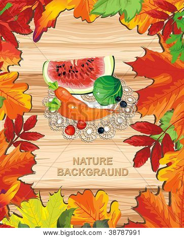 Autumn banner on wooden background with leaves. Happy Thanksgiving beautiful Retro card with Place for your text.
