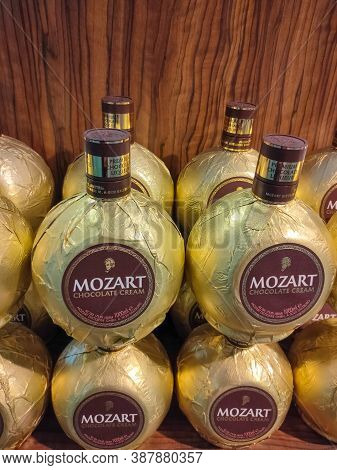 Kyiv, Ukraine - September 15, 2020: Bottle Of Mozart Chocolate Cream At Duty Free Shop At Airport At