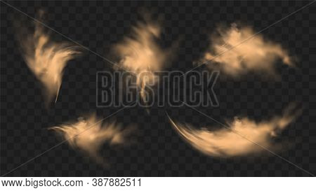 Dust Sand Clouds Set With Stones And Flying Dusty Particles Isolated On Transparent Background. Dese
