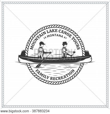 Vector Mountain Lake Canoe Tours Logo