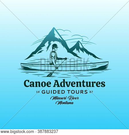 Vector Mountain River Canoe Adventures Badge