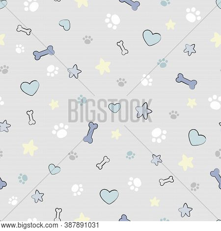 Cute Simple Seamless Pattern With Paw Prints, Pet Stuff, Hearts And Stars. Great For Baby Fabric, Te
