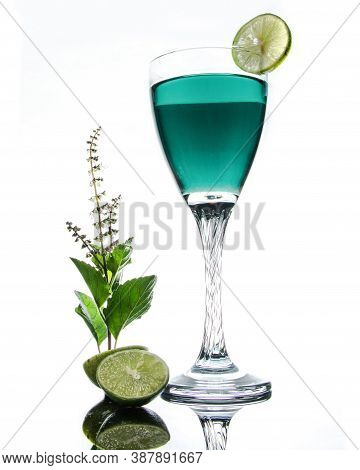 Beautiful Healthy Cocktail Stock Photo In White Background