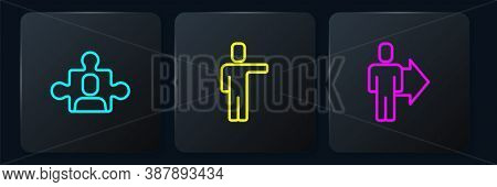 Set Line Project Team Base, Team Leader And Head Hunting. Black Square Button. Vector
