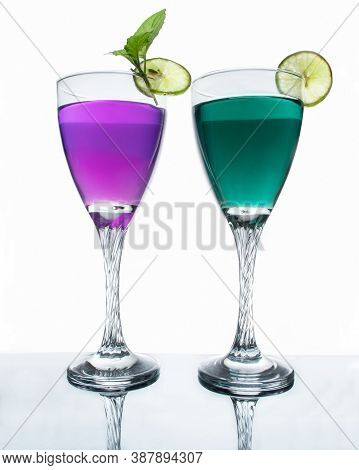 Two Types Healthy Cocktail Stock Photo In White Background