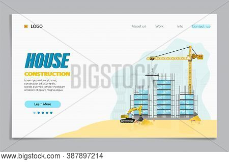 Landing Page Of House Construction. Buildings And Special Equipment At The Construction Site. Constr