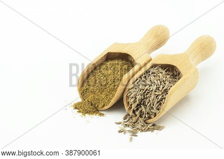 Dry Cumin Seeds With Ground Caraway Powder Isolated On White Background. Healthy Food Cumin Spice Co