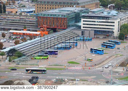 Gothenburg, Sweden - August 27, 2018: Bus Terminal Aerial View In Gothenburg, Sweden. Gothenburg Is