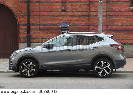 Stockholm, Sweden - August 24, 2018: Silver Nissan Qashqai Crossover Compact Suv Parked In Stockholm