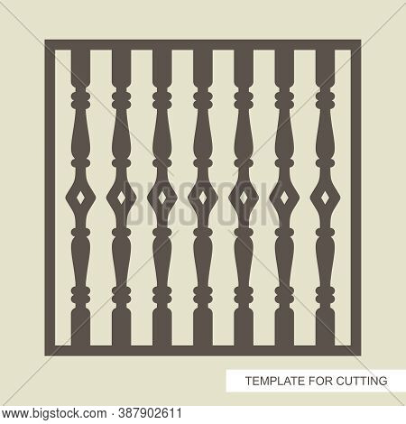 Square Fence (lattice, Panel, Railings) With Classic Balusters. Template For Plotter Laser Cutting (