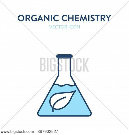 Organic Chemistry Flask Icon. Vector Illustration Of A Chemical Flask With A Leaf Eco Symbol. Repres
