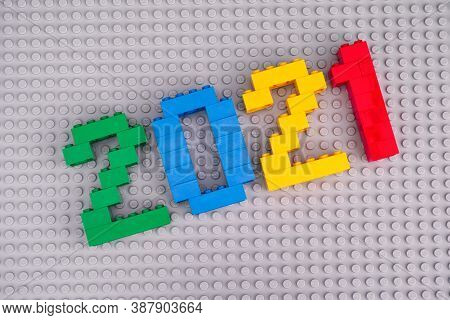 Tambov, Russian Federation - August 26, 2020 Lego Numbers 2021 On Gray Baseplate Background.