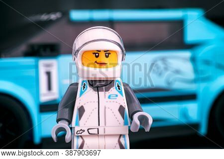 Tambov, Russian Federation - February 19, 2020 Lego Jaguar I-pace Etrophy Driver Minifigure By Lego