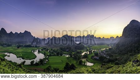 Beautiful Step Of Rice Terrace Paddle Field In Sunset And Dawn At Trung Khanh, Cao Bang.