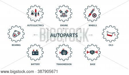 A Group Of Vector Images, Icons And Logos With Car Parts, Batteries, Transmission, Electrical Equipm