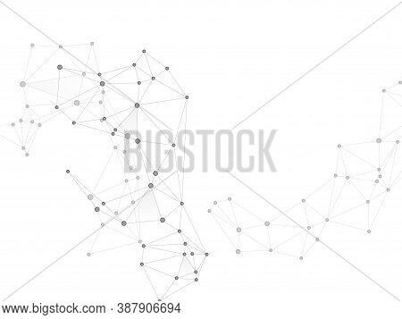 Geometric Plexus Structure Cybernetic Concept. Network Nodes Greyscale Plexus Background. Interlinke
