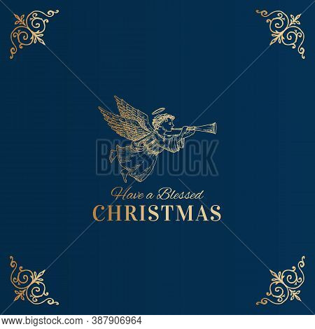Merry Christmas Abstract Vector Classy Label, Sign Or Card Template. Hand Drawn Golden Angel With Ho