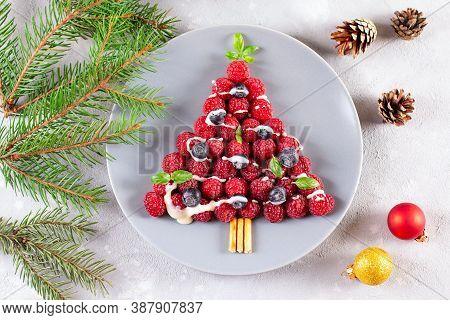 Raspberry Christmas Tree - Funny Idea For Kids, Christmas Breakfast. Creative Idea For Christmas And
