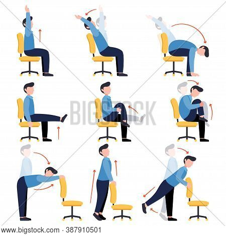 Instructions Men Doing Office Chair Yoga. Set Of Business Man Workout For Healthy Back, Neck, Arms,