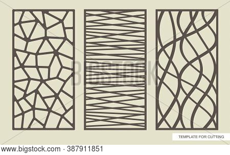 Set Of Rectangular Panels With An Abstract Geometric Pattern Of Straight And Wavy Lines. Template Fo