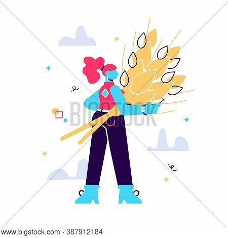 Cartoon Vector Illustration Of Woman With Golden Sheaf Of Wheat
