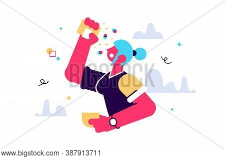 Cartoon Vector Illustration Of Women Try To Eat Many Pills. A Lot Of Medication. Hypochondriac And U