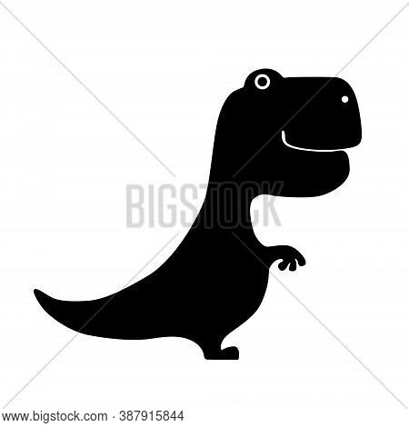Black Silhouette Tyrannosaurus Dinosaur Isolated On White Background. Flat Design For Poster Or T-sh