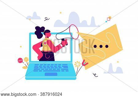 Cartoon Vector Illustration Of Picture Of Strict Businesswoman Shouting In Megaphone On White Backgr
