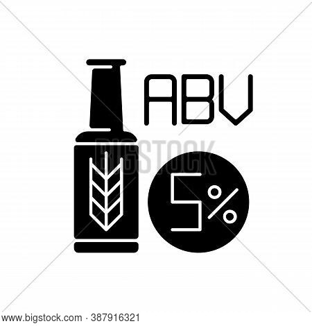 Alcohol By Volume Black Glyph Icon. Alcoholic Beverage. Beer In Bottle. Lager And Ale. Draught Stout