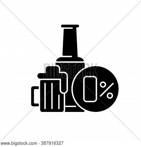 Non Alcoholic Beer Black Glyph Icon. Safe Drink. Bottled Spirit In Bar. Liquid In Pub Menu. No Level