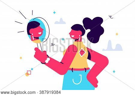 Vector Cartoon Illustration O Woman Watching A Mirror And Admires Herself, Self-confidence, Narcissi