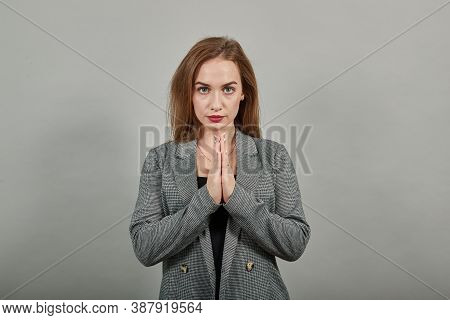 Folded Hands Together Praying Asking God For Help Ask Implore Wish Upwards Jesus Christ. Young Attra