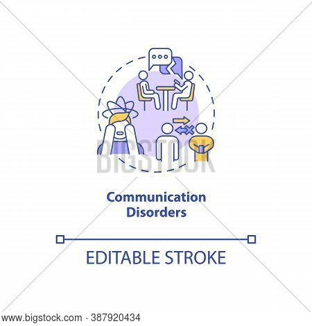 Communication Disorders Concept Icon. Screen Addiction Symptom Idea Thin Line Illustration. Relation