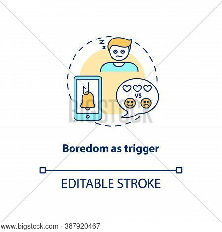 Boredom As Trigger Concept Icon. Social Media Addiction Idea Thin Line Illustration. Intensive Inter