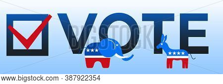Presidential Election In Usa 2020 Design Template. Donkey And Elephant Symbols Of Political Parties