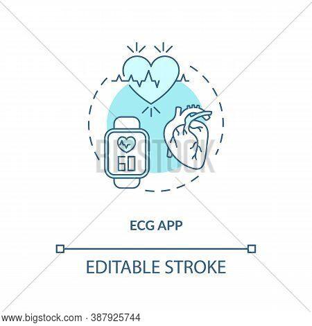 Ecg App Concept Icon. Wearable Technology Feature Idea Thin Line Illustration. Electrocardiogram. Ca