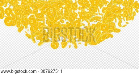 American Dollar Coins Falling. Scattered Floating Usd Coins On Transparent Background. Great Top Sem