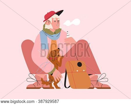 Cute Trendy Young Woman Walking A Puppy And Smoking Electronic Cigarette. Female Character Sitting W