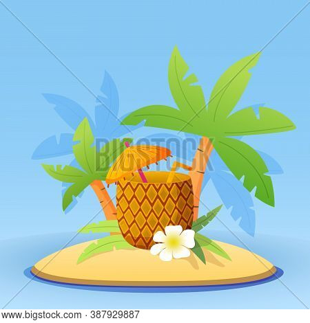 Beach Cocktail Pina Colada In Pineapple With Straw, Umbrella, Flower.