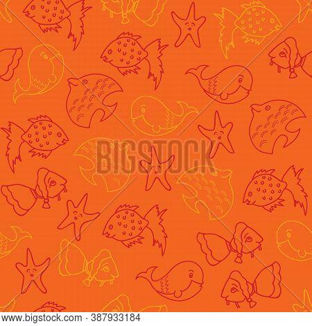 Vector Bright Orange Aquatic Seamless Pattern Bakground