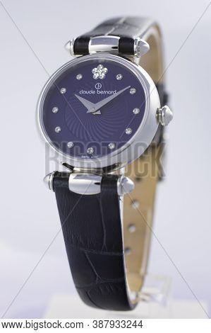 Geneve, Switzerland 01.10.2020 - Claude Bernard Woman Swiss Made Watch Decorated With Jewels Blue Di
