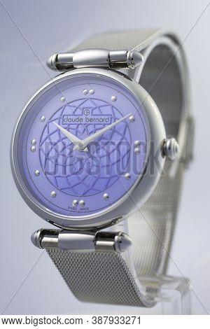 Geneve, Switzerland 01.10.2020 - Claude Bernard Woman Swiss Made Watch Blue Dial. Luxury Watches Swi