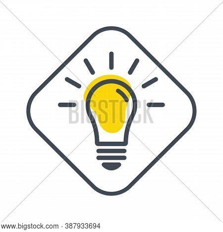 Bright Idea And Creative Thinking. Light Bulb Icon. Bulb, Ideas, Solution Symbol, Lamp Icon, Idea Cr