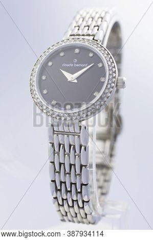 Geneve, Switzerland 01.10.2020 - Claude Bernard Woman Swiss Made Watch Decorated With Jewels Metal B