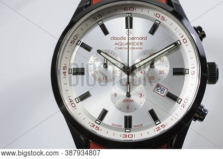 Geneve, Switzerland 01.10.2020 - Claude Bernard Man Swiss Made Watch White Dial Aquarider Chronograp