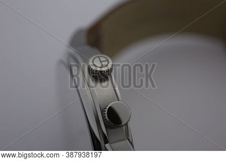Geneve, Switzerland 01.10.2020 - Claude Bernard Wiss Made Watch Close Up Detail Clock Crown. Swiss W