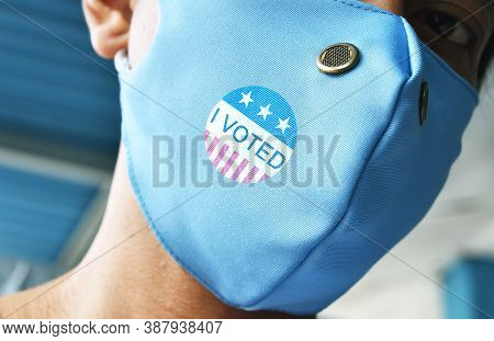 Bengkulu, Indonesia - October 04, 2020: I Voted On Protective Face Mask For  Voting In The President